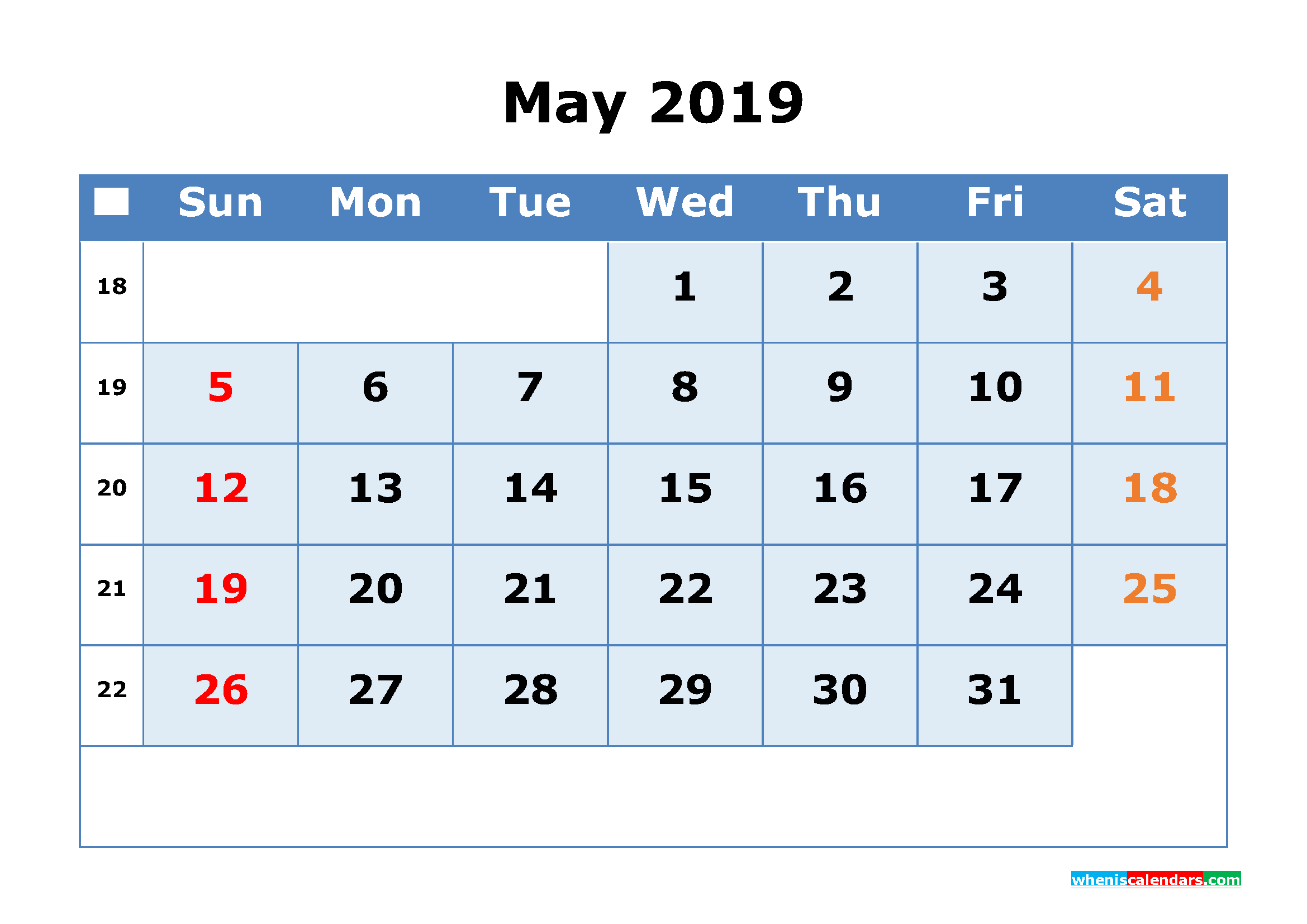 May 2019 Printable Calendar with Week Numbers as PDF, JPG