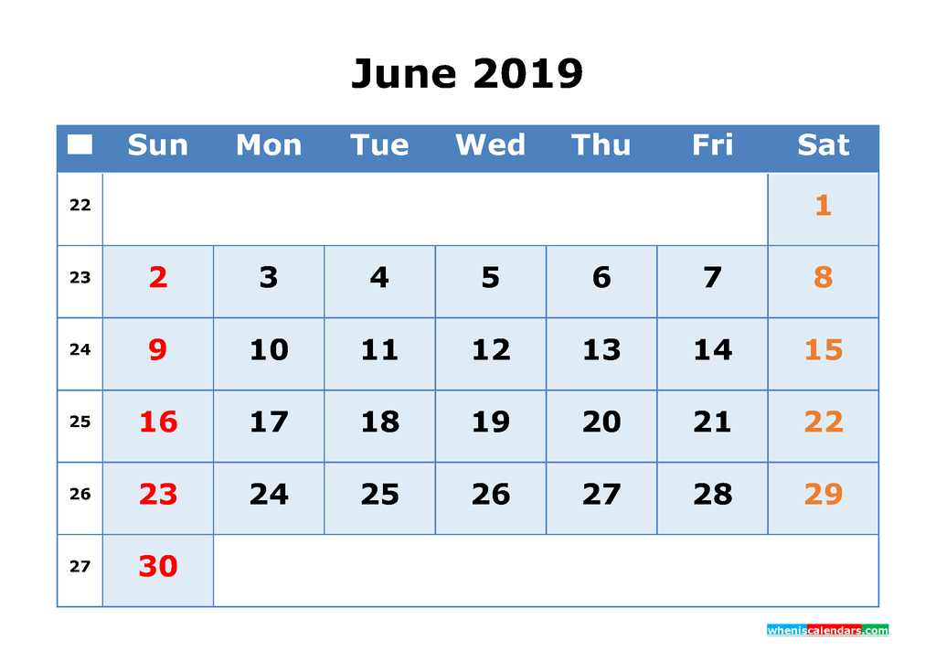 June 2019 Printable Calendar with Week Numbers as PDF, JPG