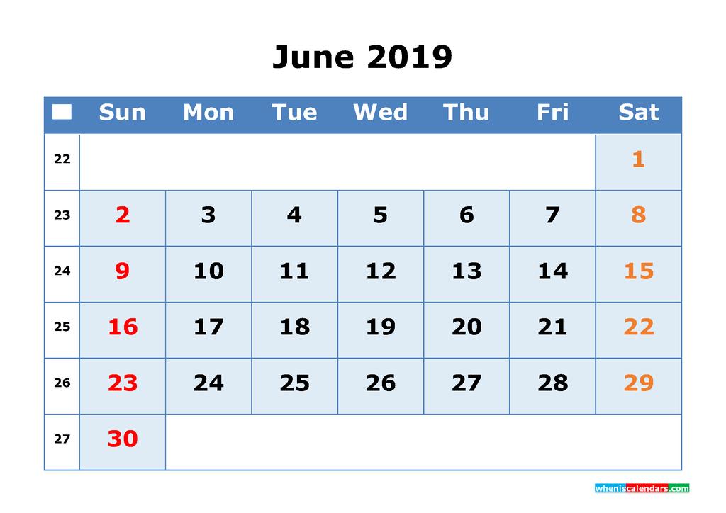 June 2019 Printable Calendar with Week Numbers as PDF, JPG