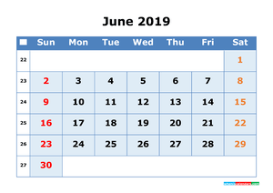 June 2019 Printable Calendar with Week Numbers for Free Download