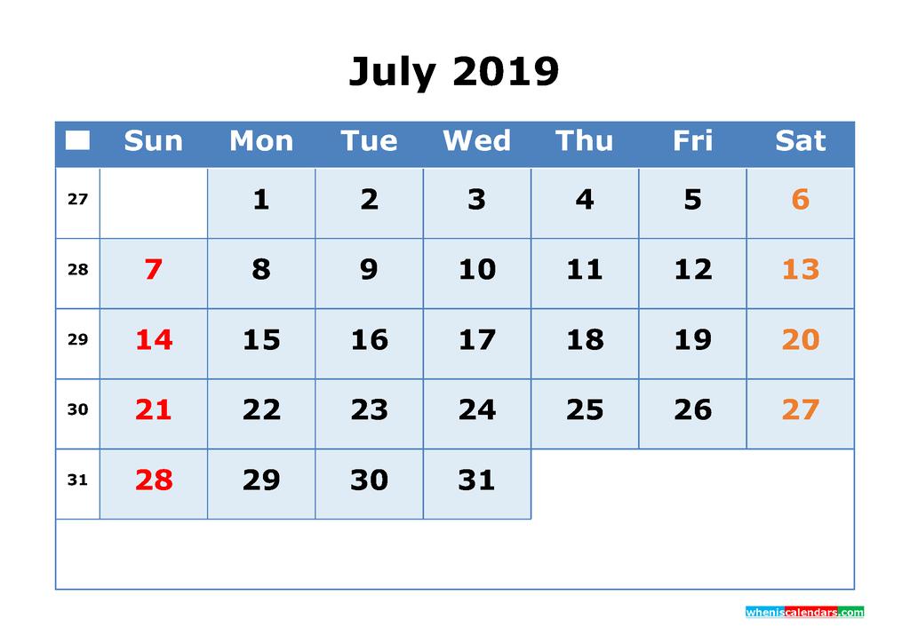 July 2019 Printable Calendar with Week Numbers as PDF, JPG