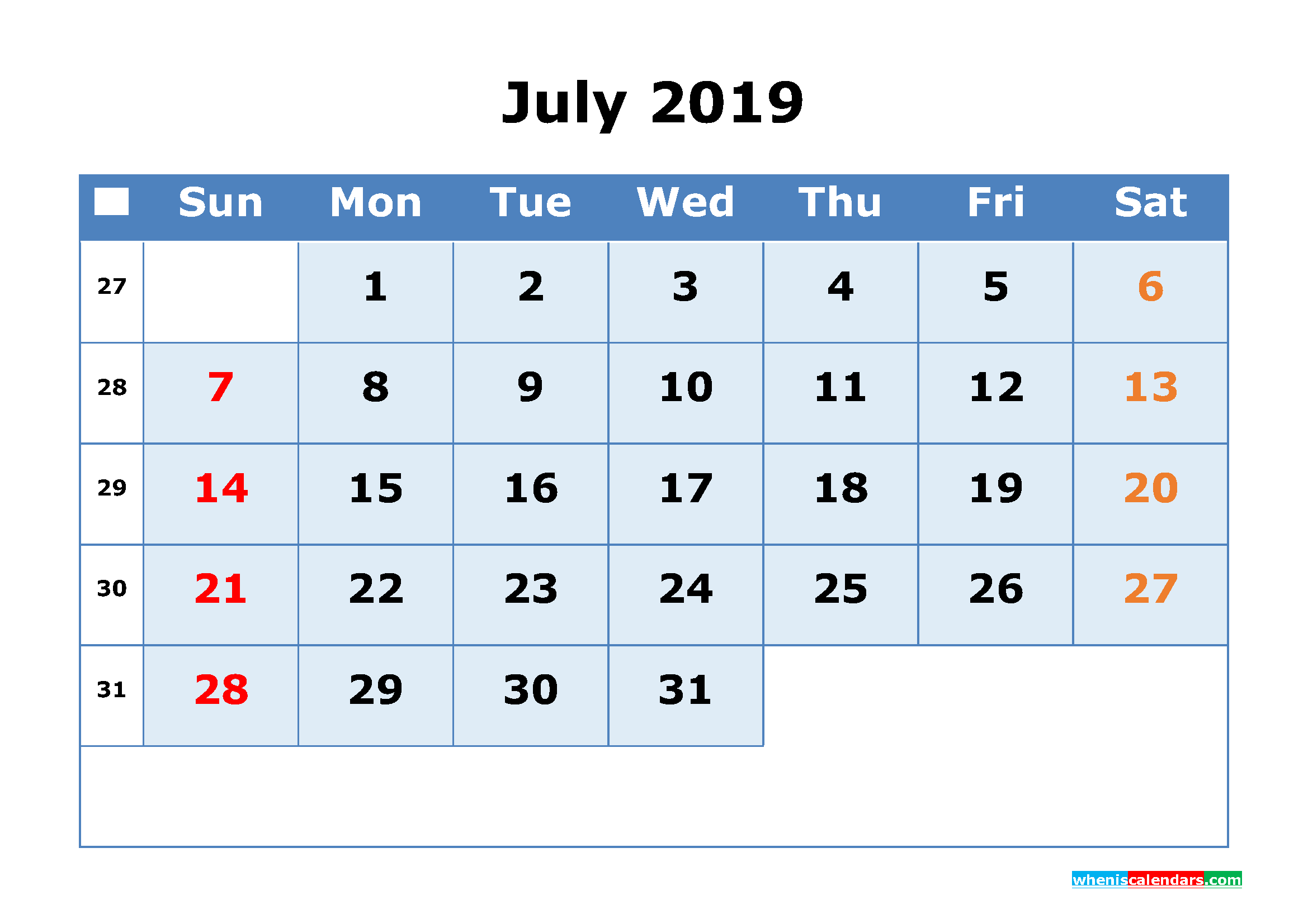 July 2019 Printable Calendar with Week Numbers as PDF, JPG
