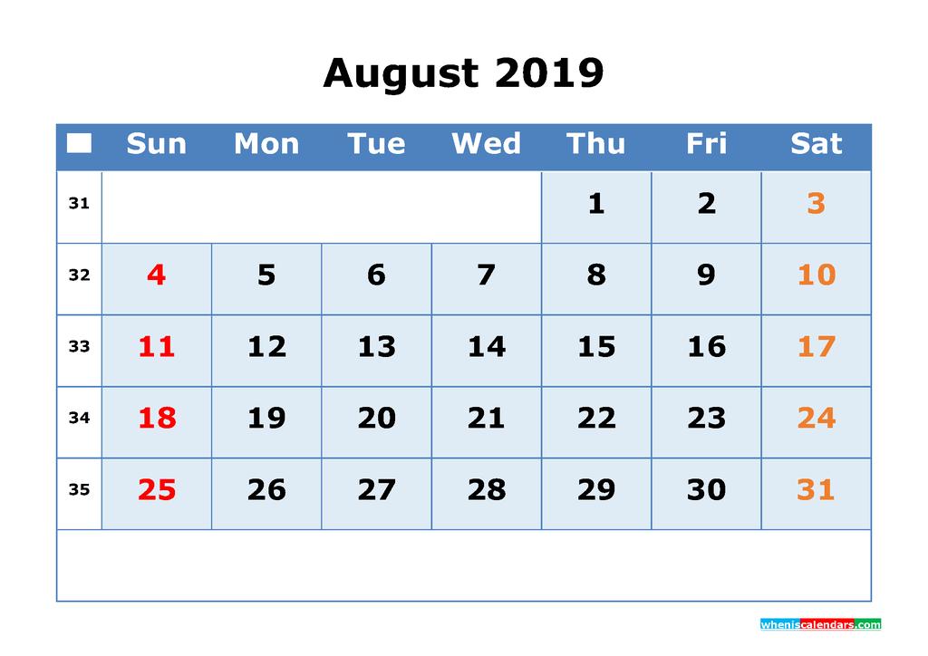 August 2019 Printable Calendar with Week Numbers as PDF, JPG