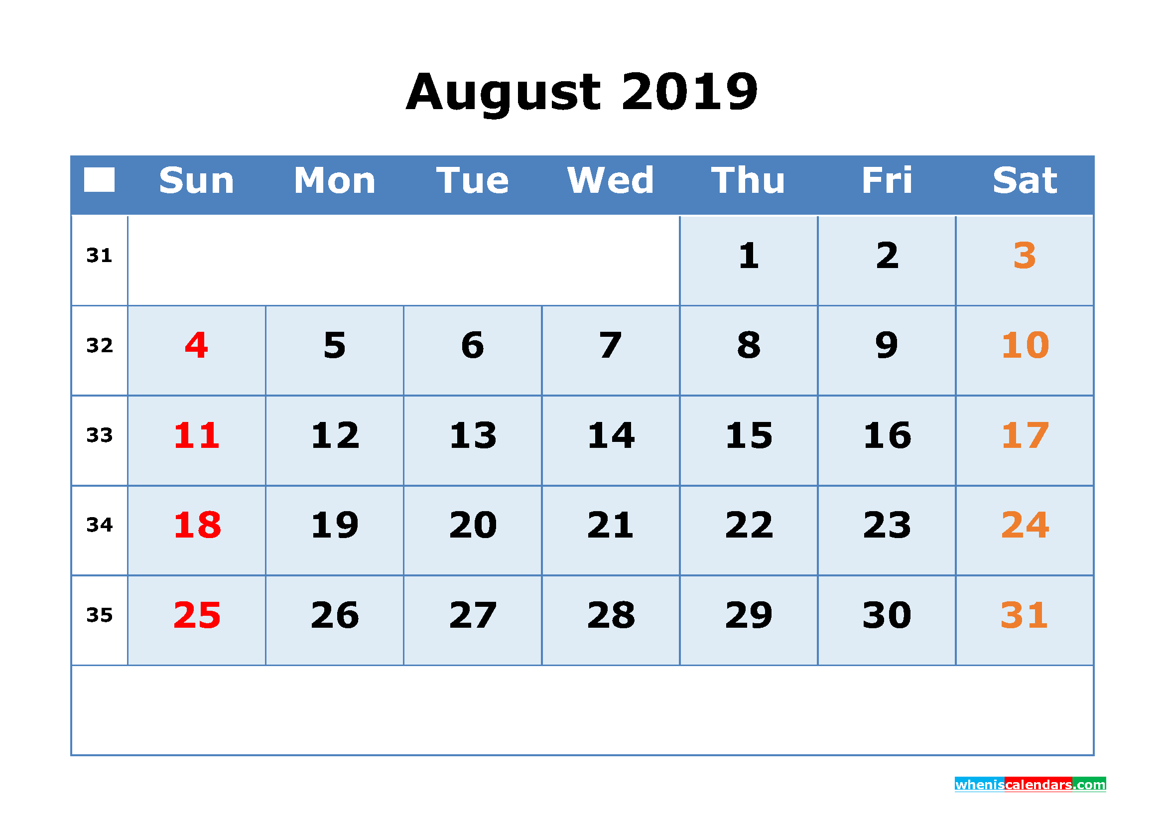 August 2019 Printable Calendar with Week Numbers as PDF, JPG
