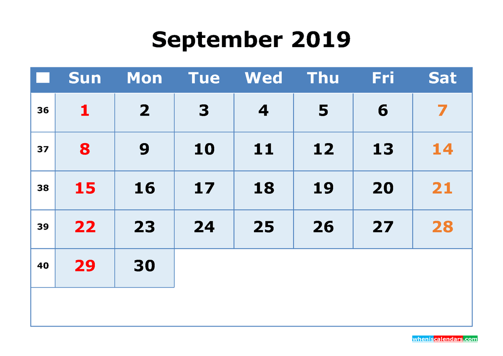 September 2019 Printable Calendar with Week Numbers as PDF, JPG