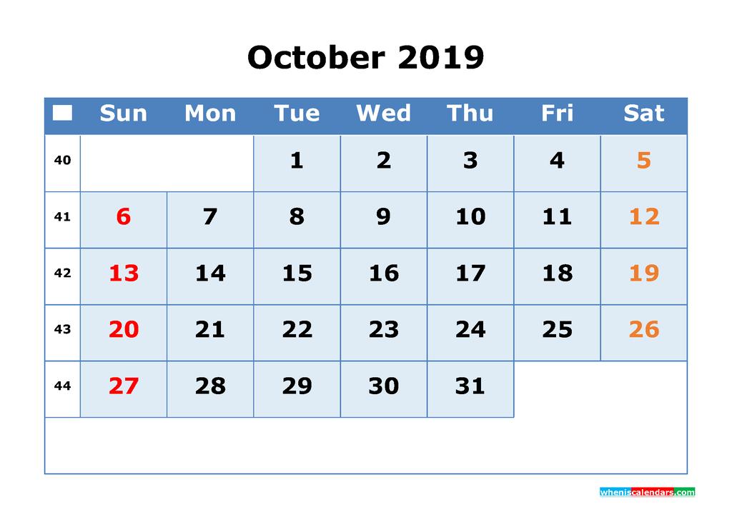 October 2019 Printable Calendar with Week Numbers as PDF, JPG