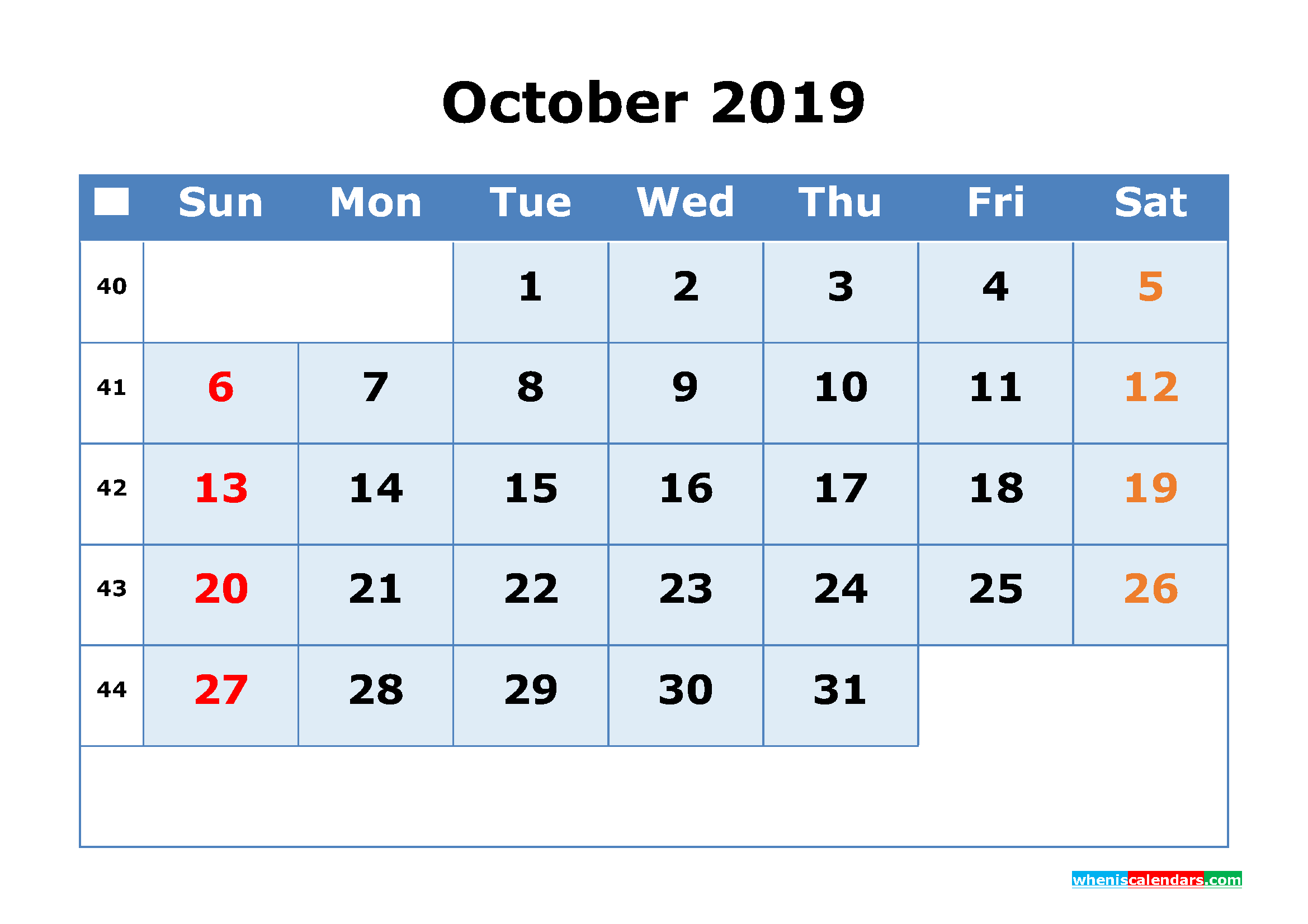 October 2019 Printable Calendar with Week Numbers as PDF, JPG