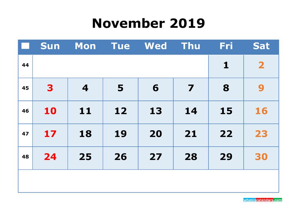 November 2019 Printable Calendar with Week Numbers as PDF, JPG