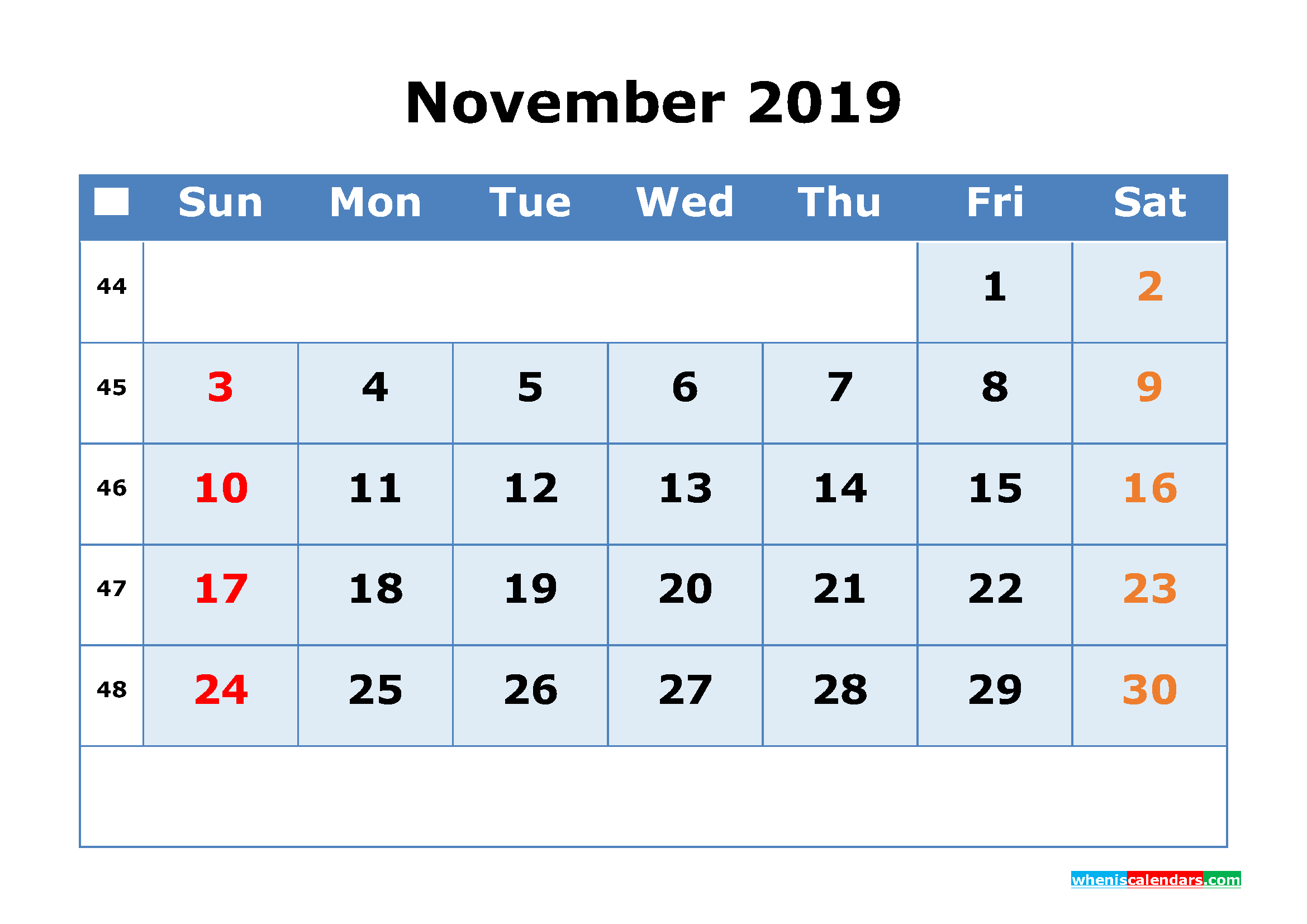 November 2019 Printable Calendar with Week Numbers as PDF, JPG