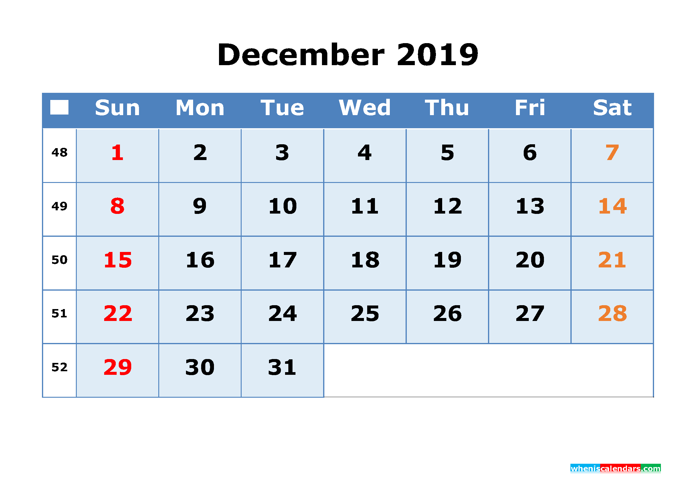 December 2019 Printable Calendar with Week Numbers as PDF, JPG