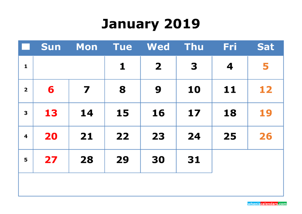 Printable Calendar 2019 January for Free Download as PDF, PNG
