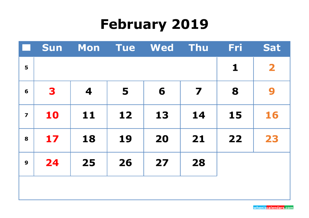 Printable Calendar 2019 February for Free Download as PDF, JPG