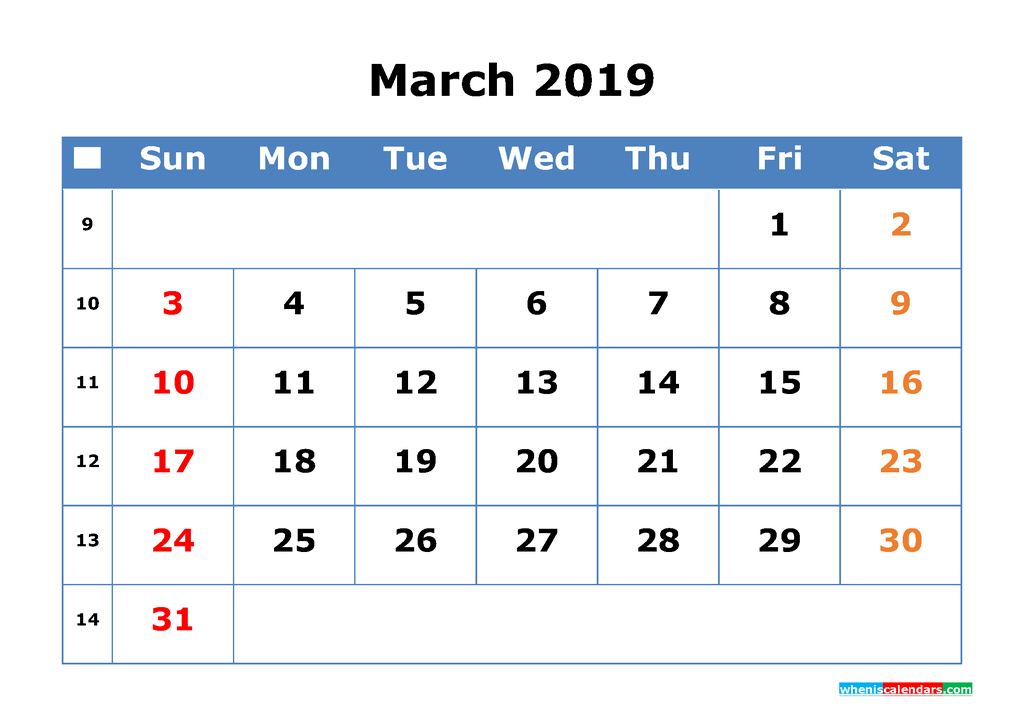Printable Calendar 2019 March for Free Download as PDF, JPG