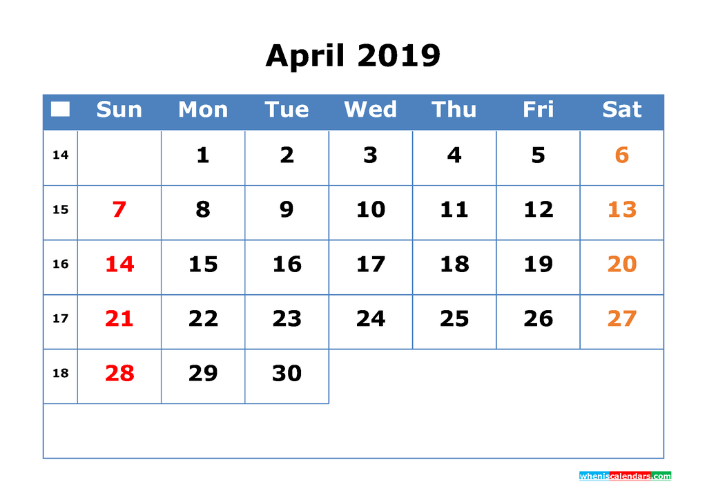 Printable Calendar 2019 April for Free Download as PDF, JPG
