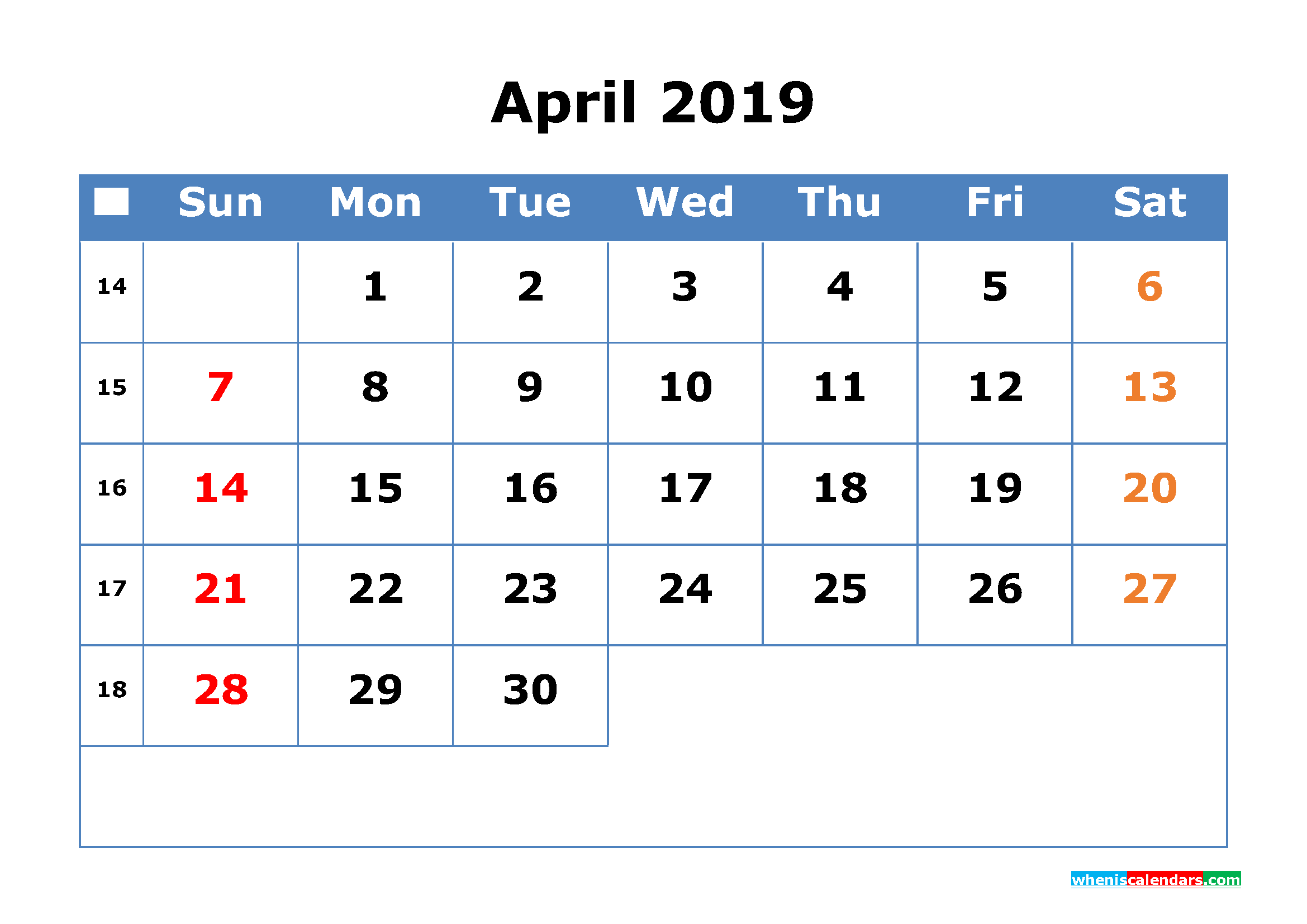 printable calendar 2019 april with week number