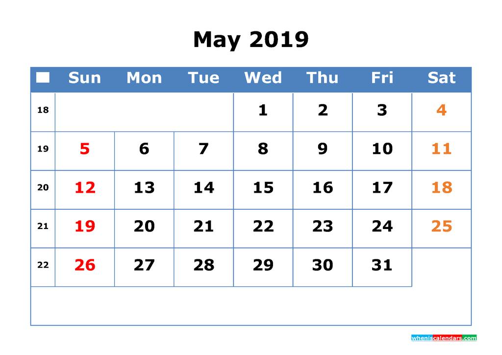 Printable Calendar 2019 May for Free Download as PDF, JPG