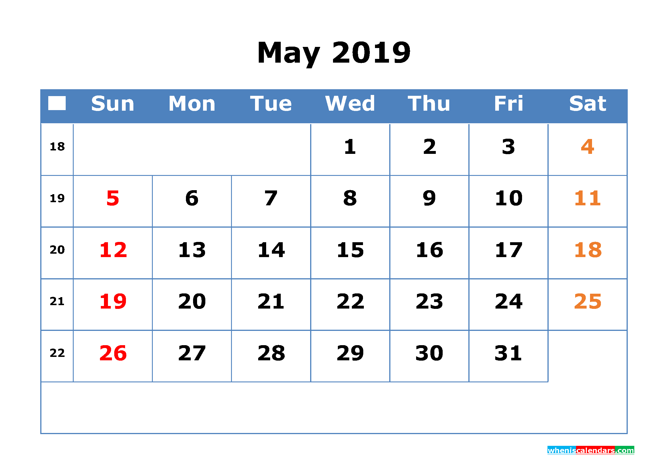 printable calendar 2019 may with week number