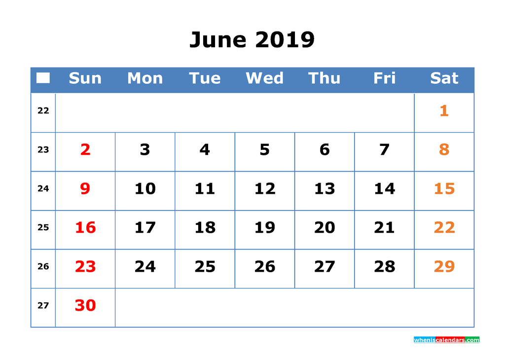 Printable Calendar 2019 June for Free Download as PDF, JPG