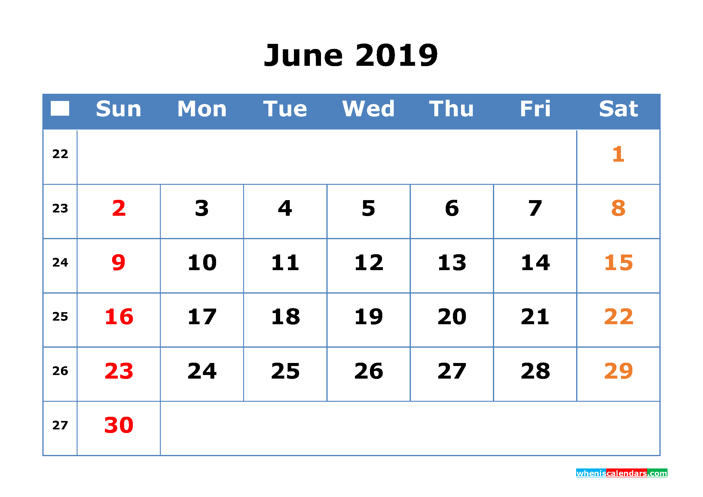 Printable Calendar 2019 June With Week Number 2019 Calendar With