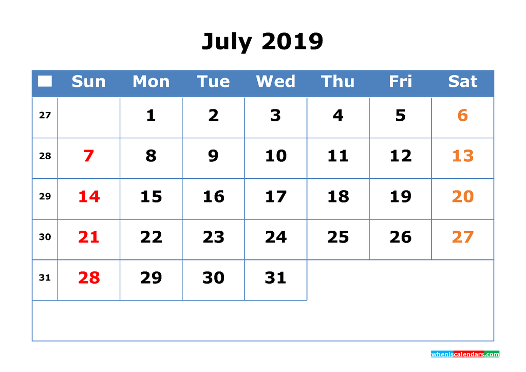 Printable Calendar 2019 July for Free Download as PDF, JPG