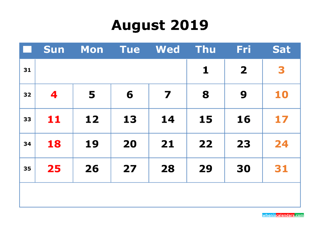 Printable Calendar 2019 August for Free Download as PDF, JPG