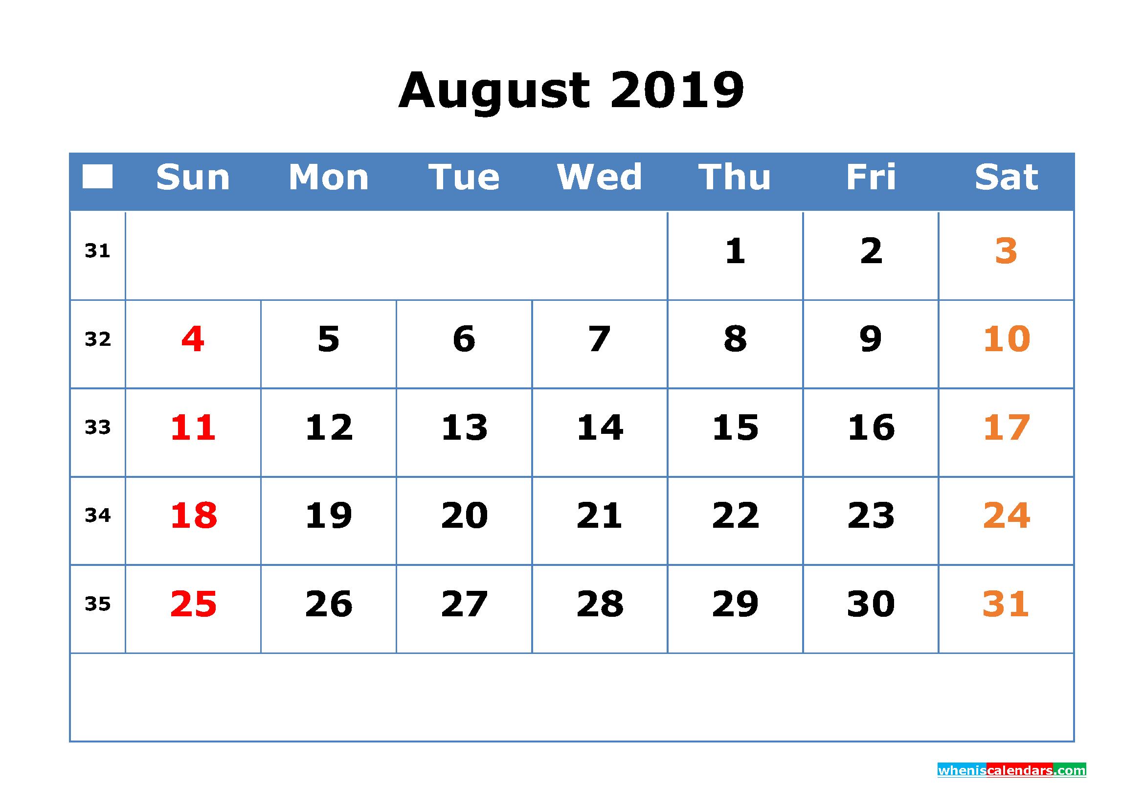 Printable Calendar 2019 August for Free Download as PDF, JPG