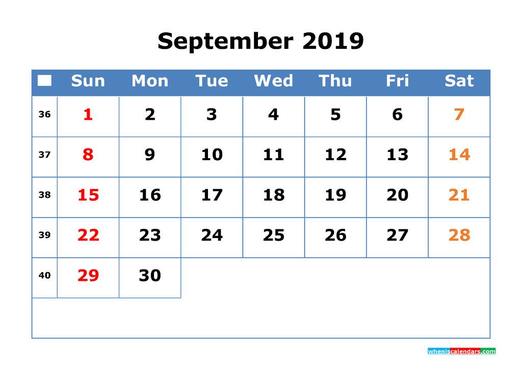 Printable Calendar 2019 September for Free Download as PDF, JPG