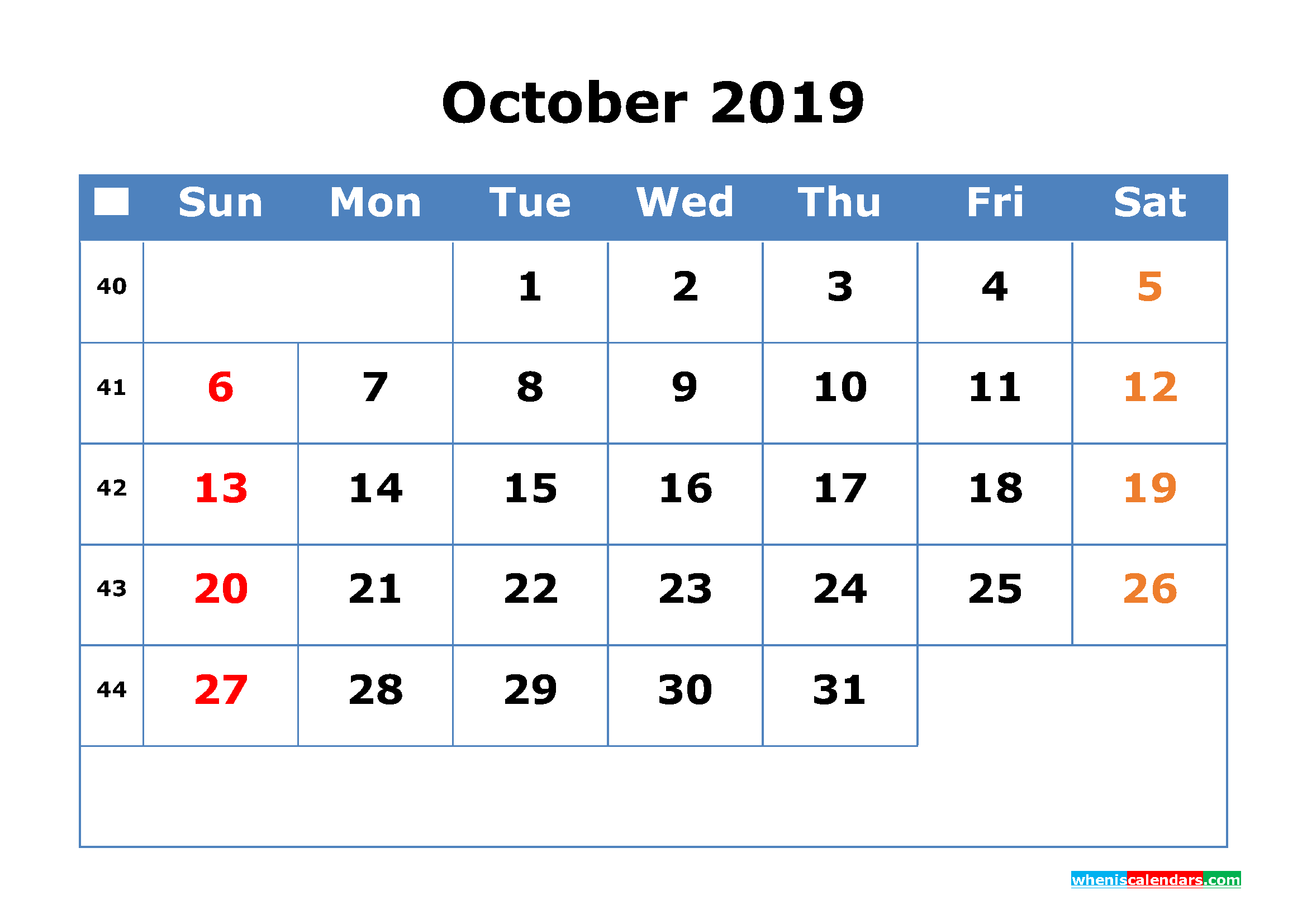 Printable Calendar 2019 October for Free Download as PDF, JPG