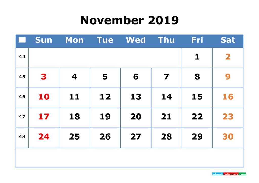 Printable Calendar 2019 November for Free Download as PDF, JPG
