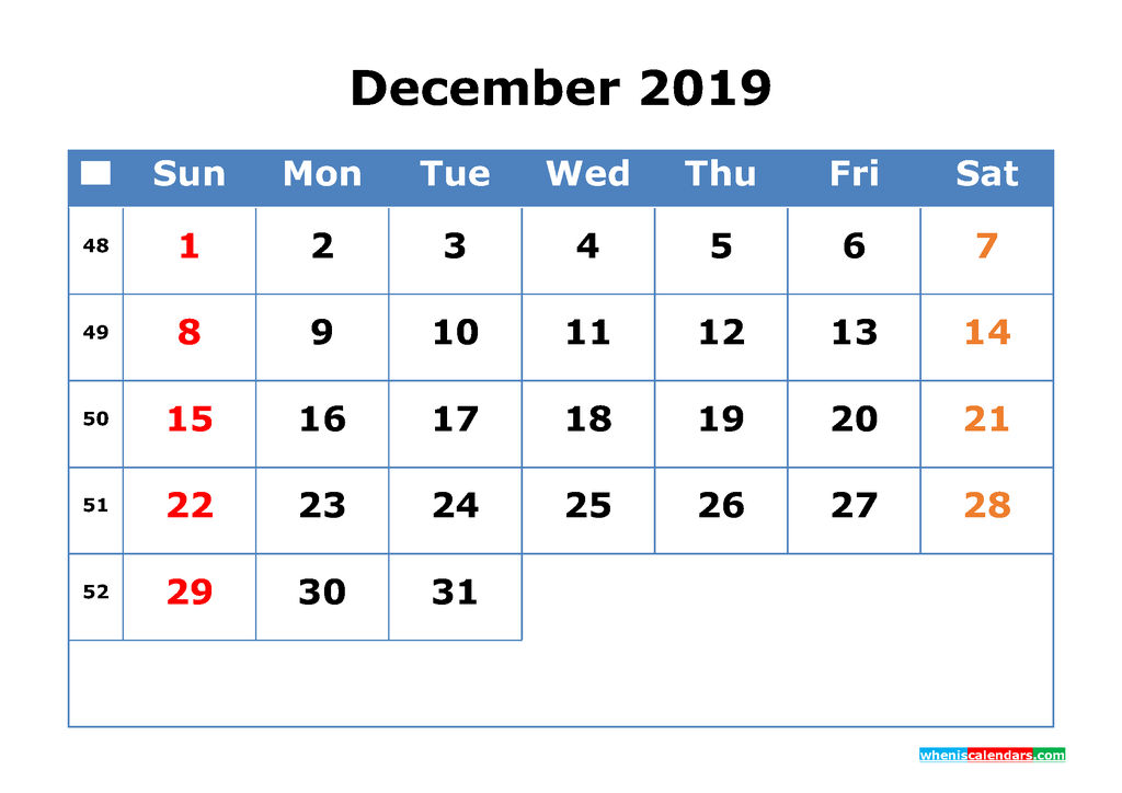 Printable Calendar 2019 December for Free Download as PDF, JPG