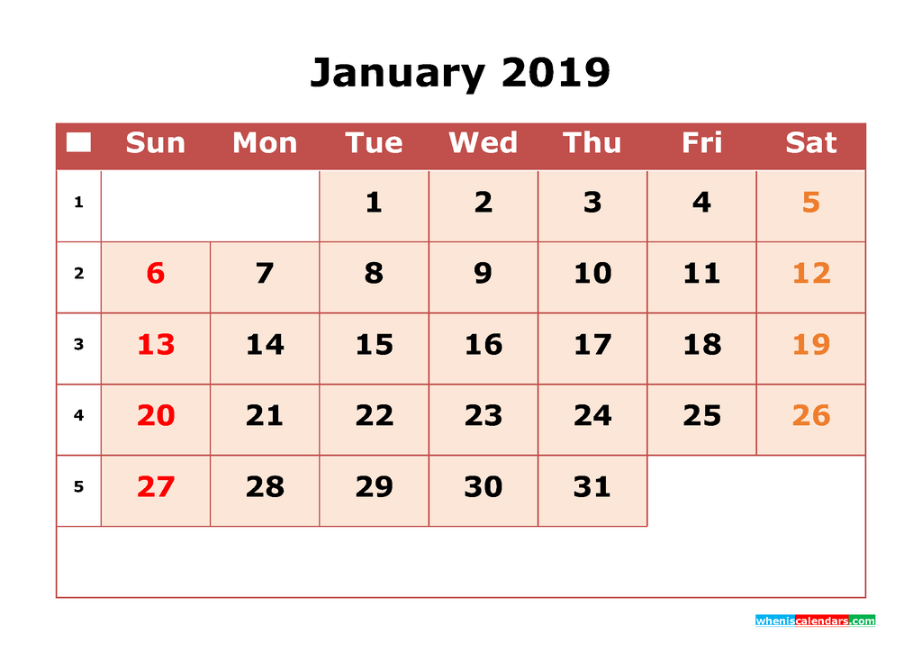 Get Free January 2019 Printable Calendar with Week Numbers as PDF, Image