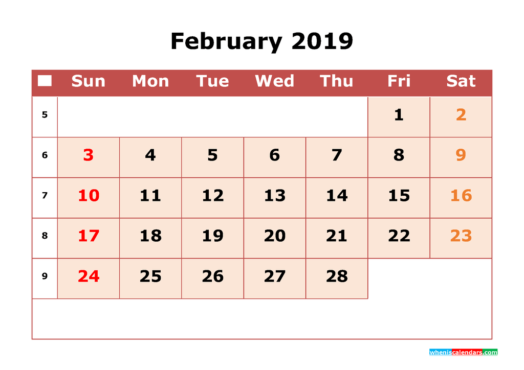 Get Free February 2019 Printable Calendar with Week Numbers as PDF, Image
