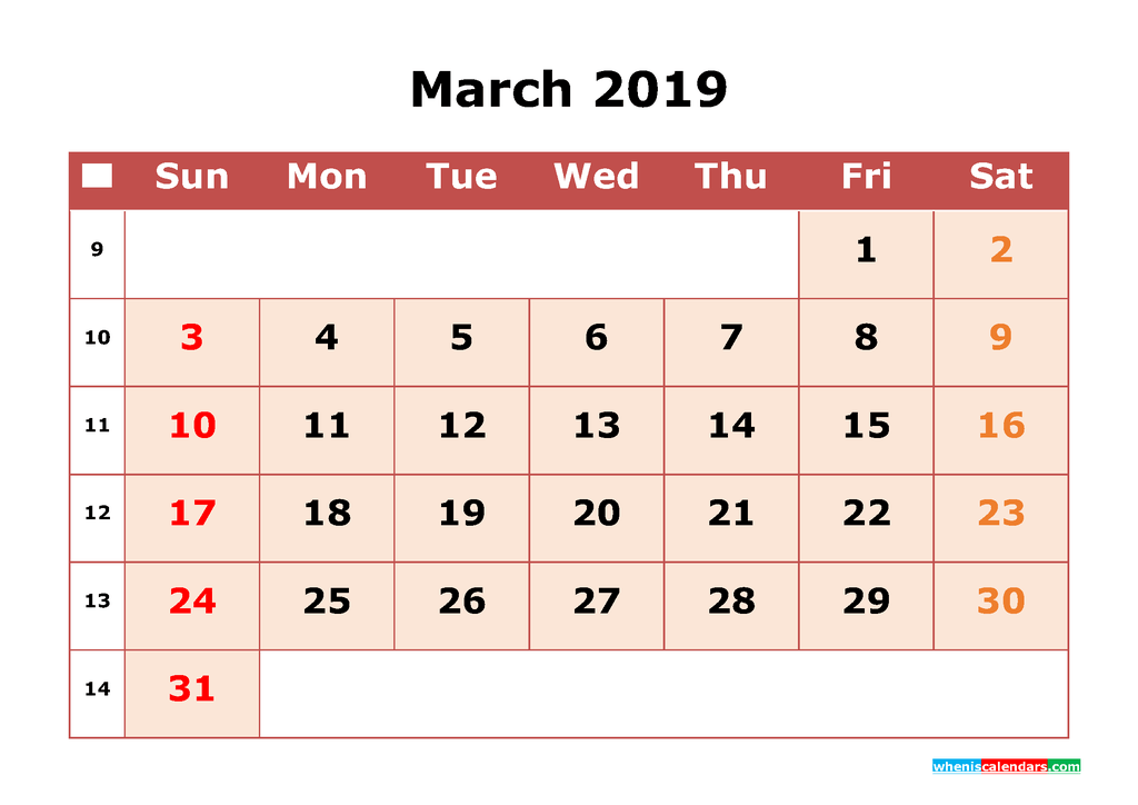 Get Free March 2019 Printable Calendar with Week Numbers as PDF, Image