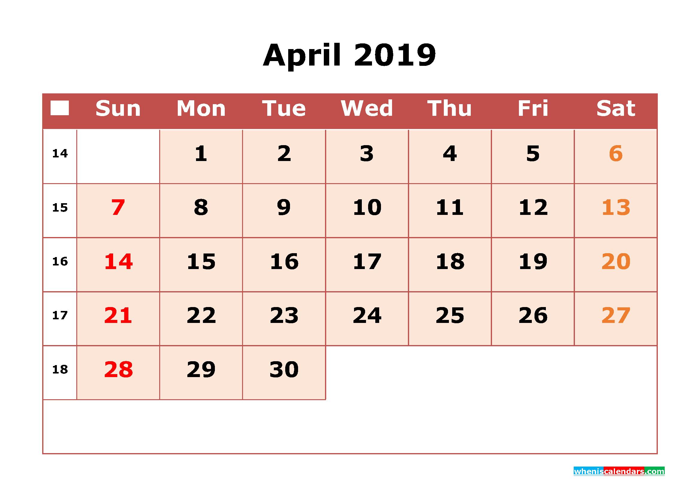 Get Free April 2019 Printable Calendar with Week Numbers as PDF, Image