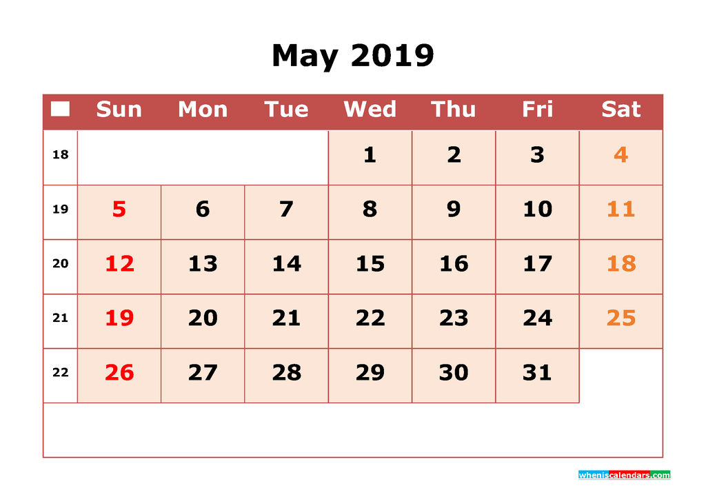 Get Free May 2019 Printable Calendar with Week Numbers as PDF, Image