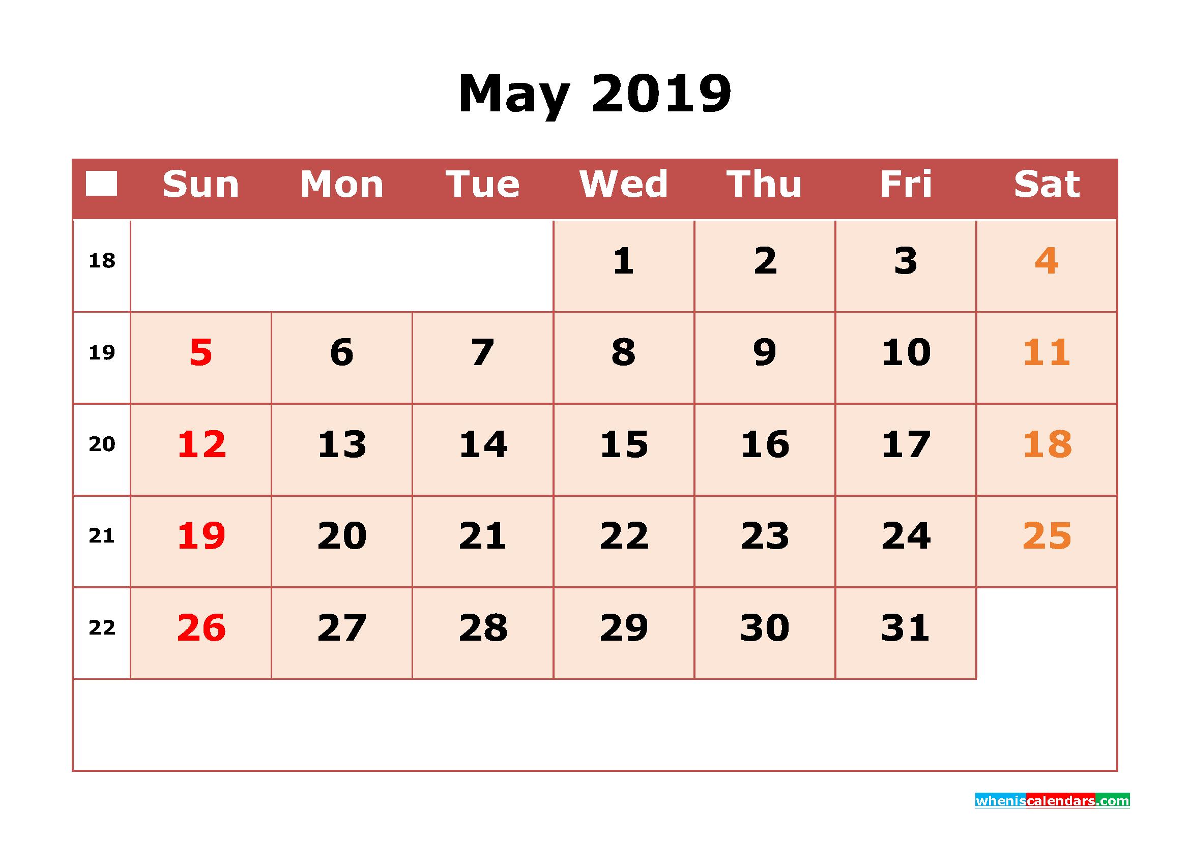 Get Free May 2019 Printable Calendar with Week Numbers as PDF, Image