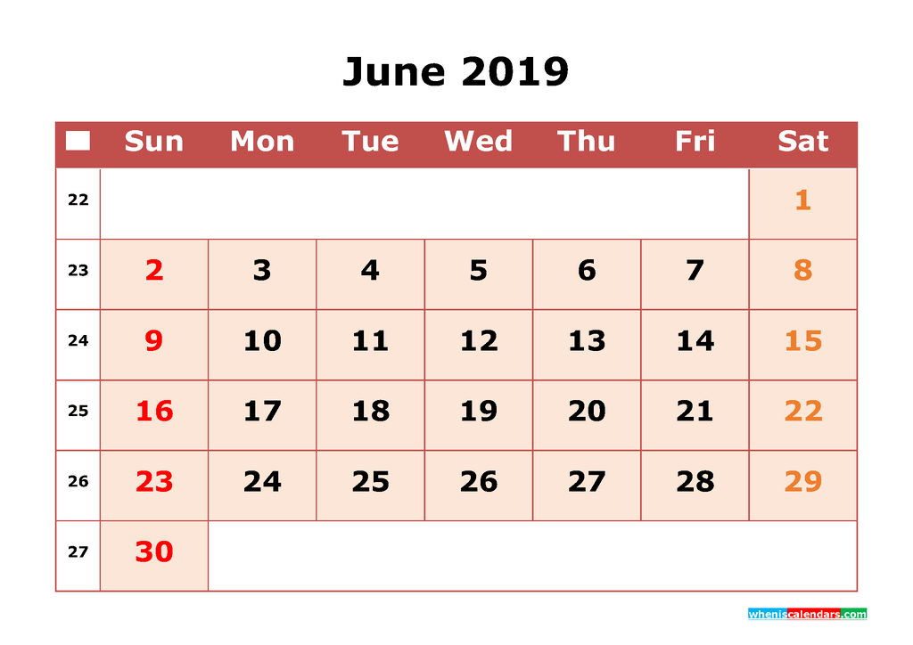 Get Free June 2019 Printable Calendar with Week Numbers as PDF, Image