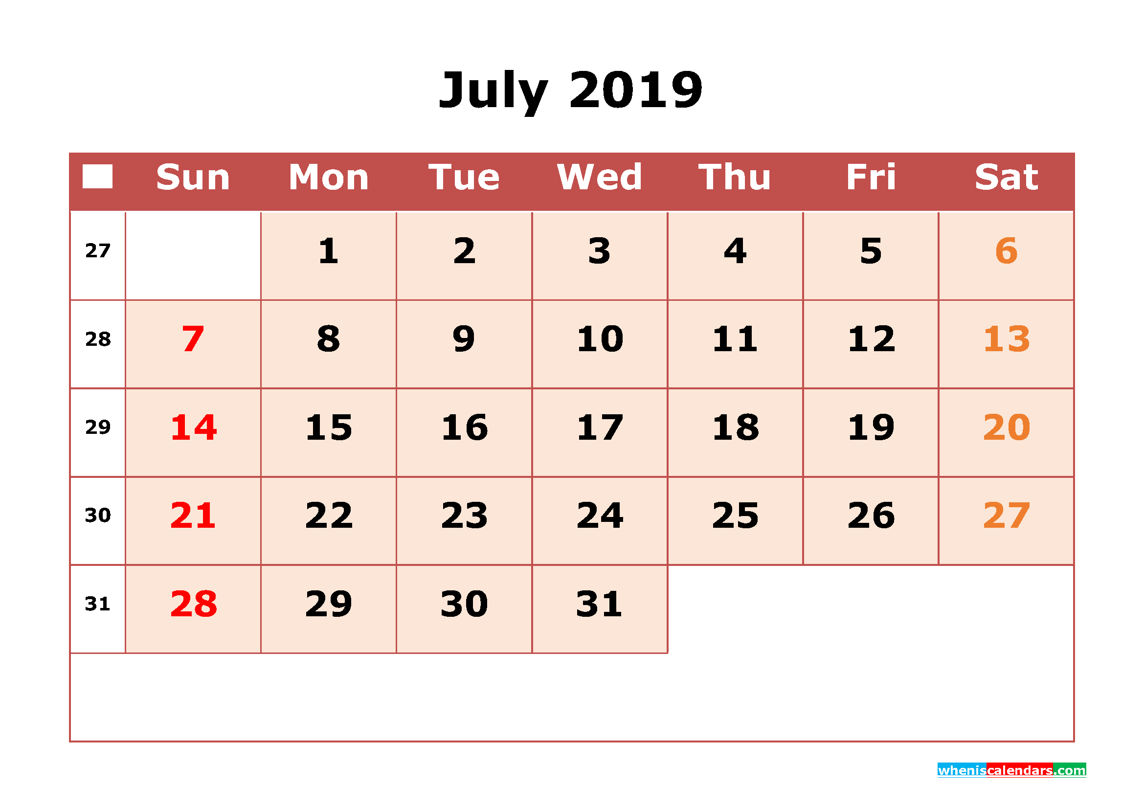 Get Free July 2019 Printable Calendar with Week Numbers as PDF, Image