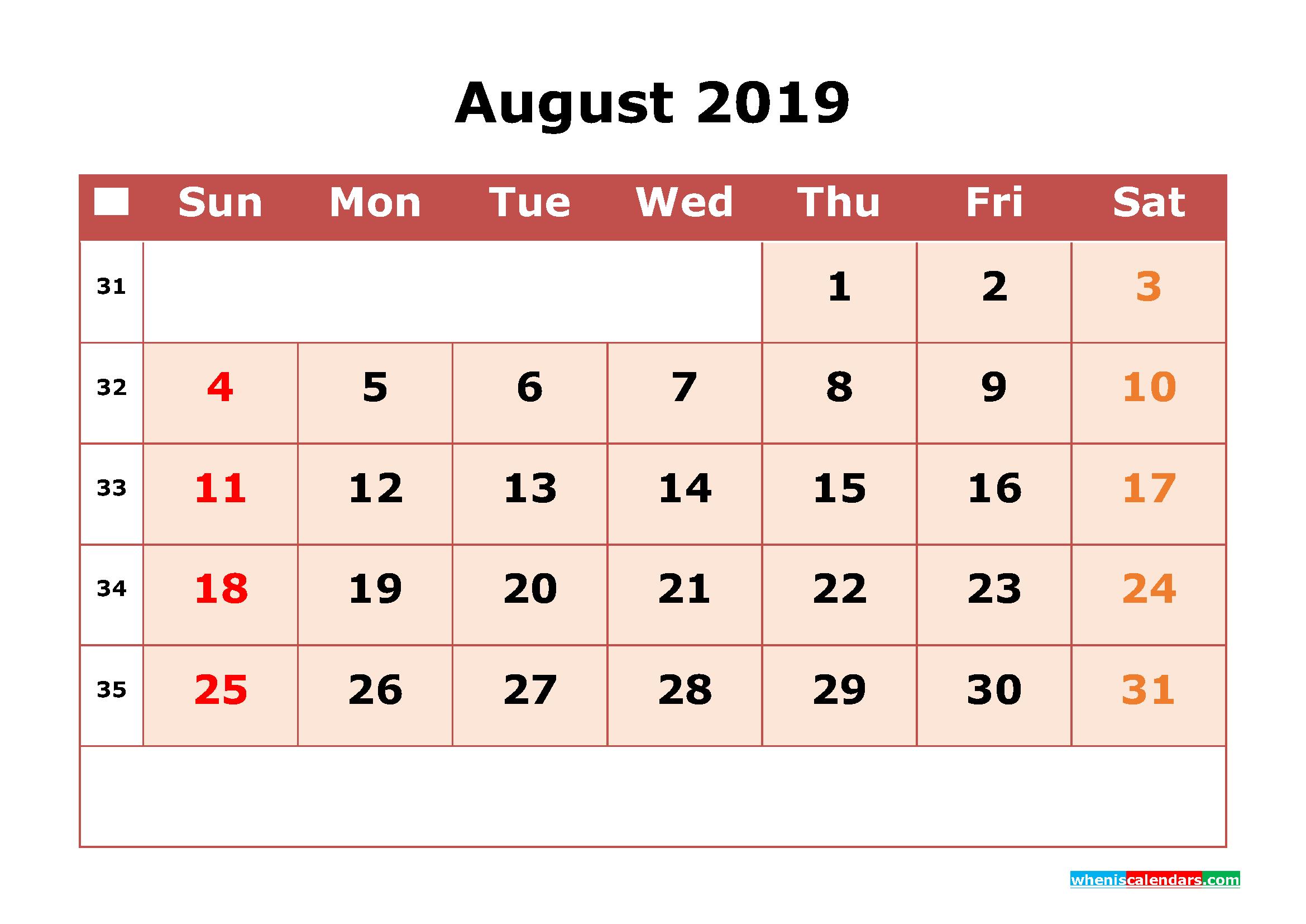 Get Free August 2019 Printable Calendar with Week Numbers as PDF, Image