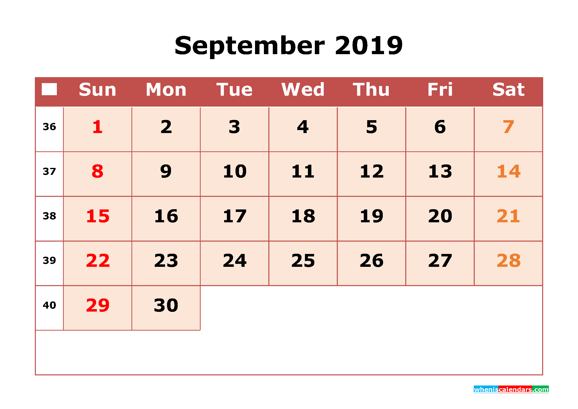 get free september 2019 printable calendar with week numbers as pdf image