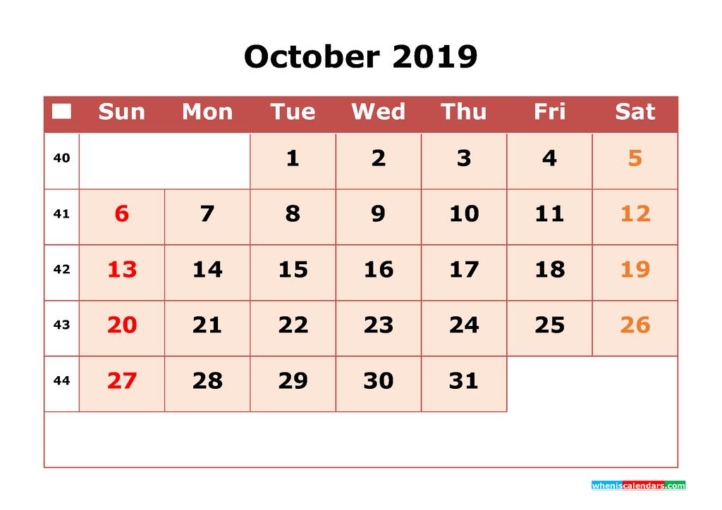 Get Free October 2019 Printable Calendar with Week Numbers as PDF, Image