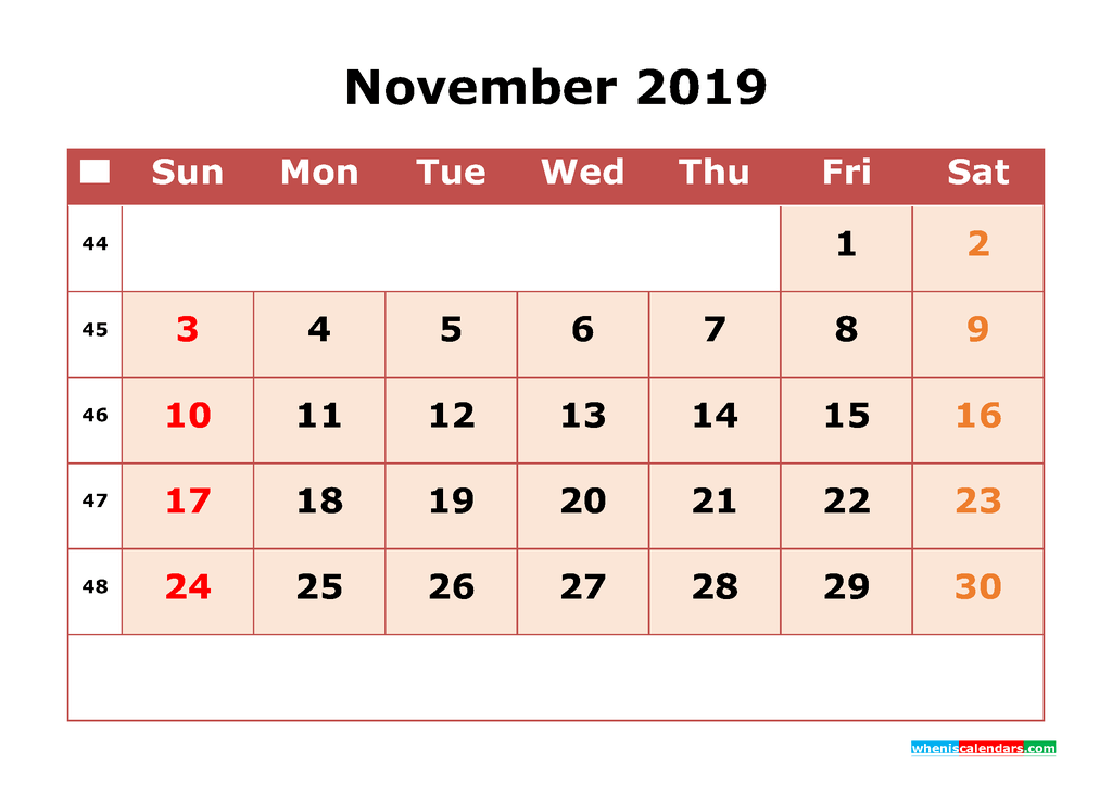 Get Free November 2019 Printable Calendar with Week Numbers as PDF, Image
