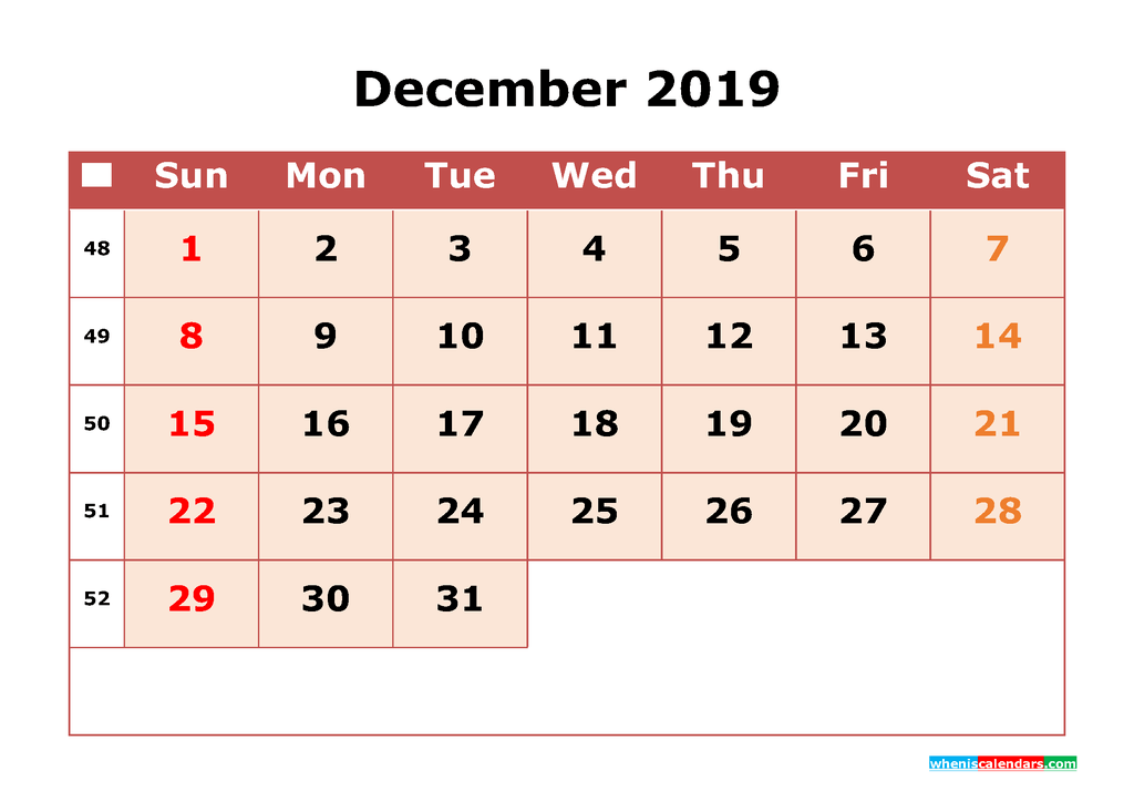Get Free December 2019 Printable Calendar with Week Numbers as PDF, Image