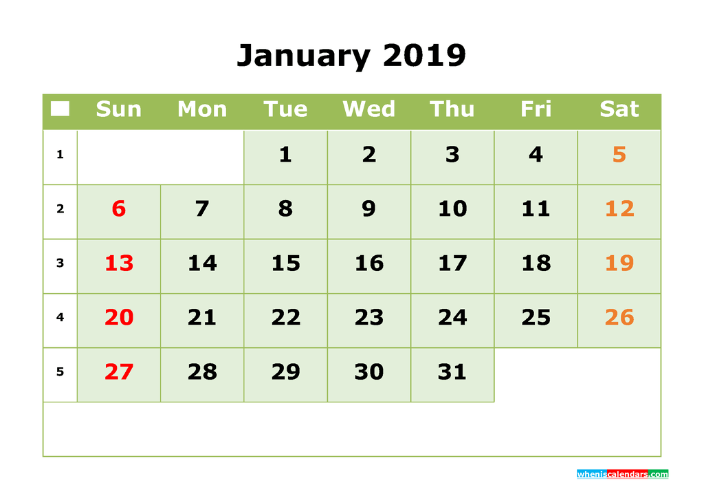 January 2019 Printable Calendar Month by Month Calendar Template