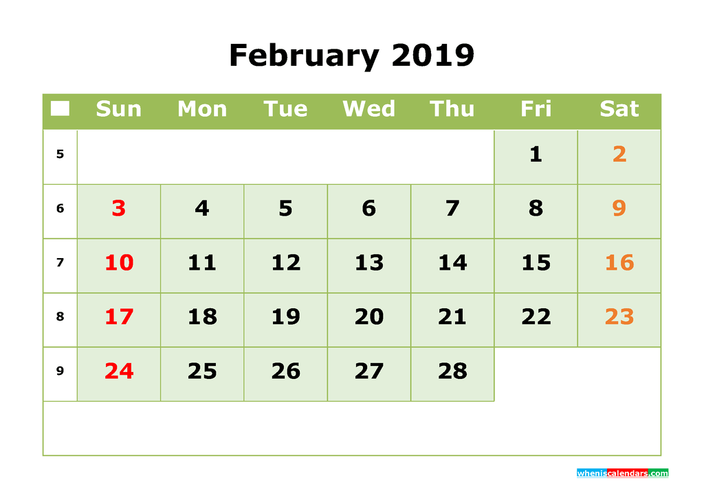 February 2019 Printable Calendar Month by Month Calendar Template