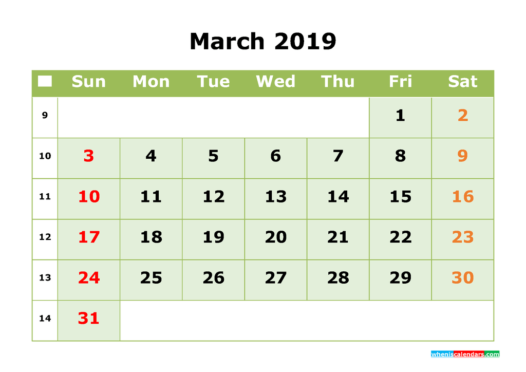 March 2019 Printable Calendar Month by Month Calendar Template