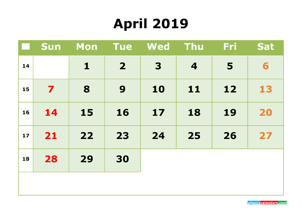 April 2019 Printable Calendar Month by Month Calendar Template
