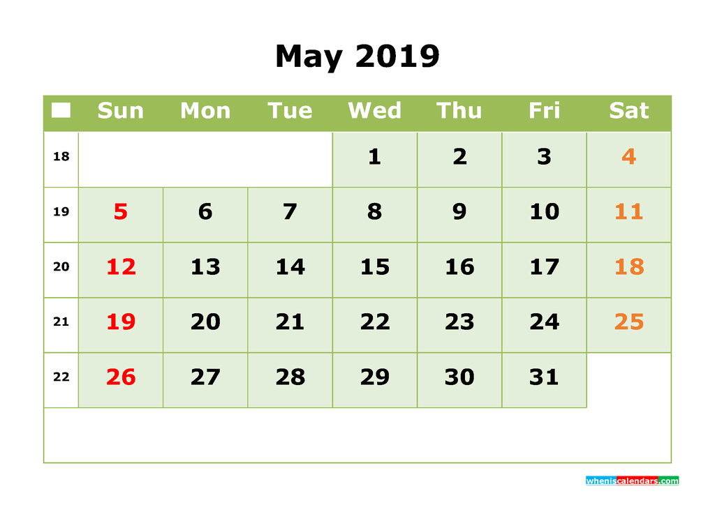 May 2019 Printable Calendar Month by Month Calendar Template