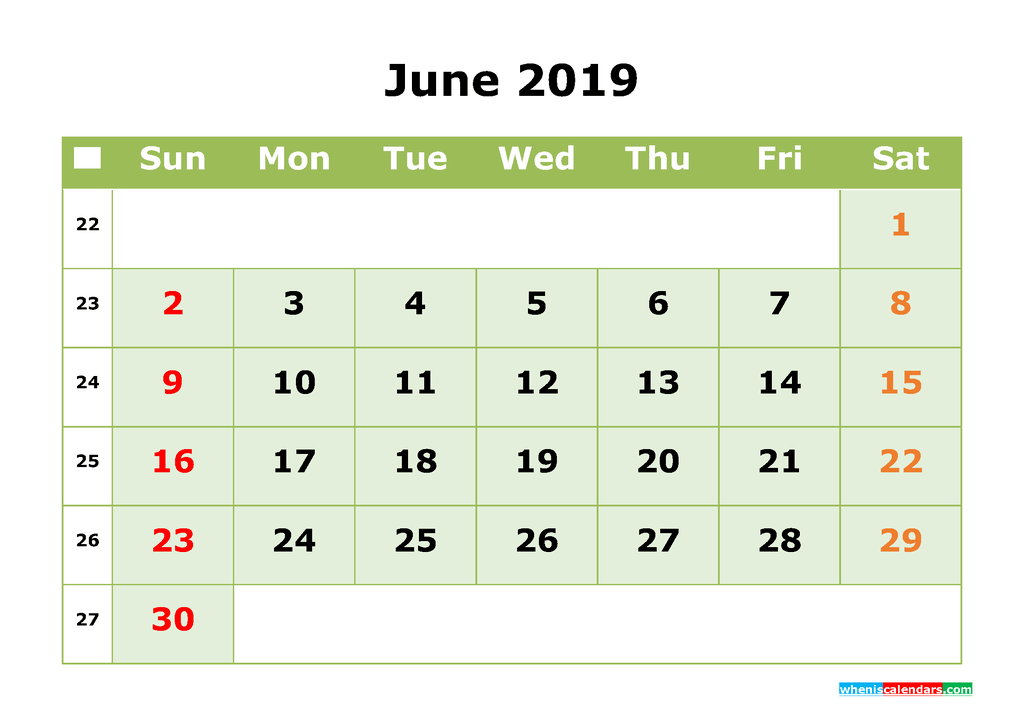 June 2019 Printable Calendar Month by Month Calendar Template