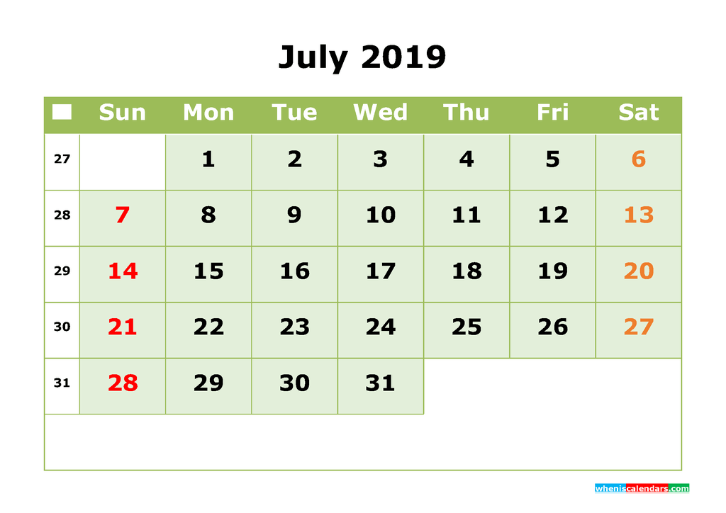 July 2019 Printable Calendar Month by Month Calendar Template